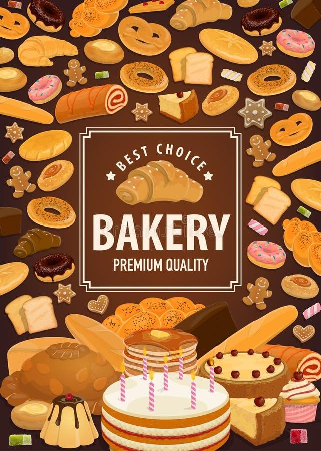 Piekarnia sklepowy plakat, ciasta pszeniczny ciasto jedzenie royalty ilustracja
