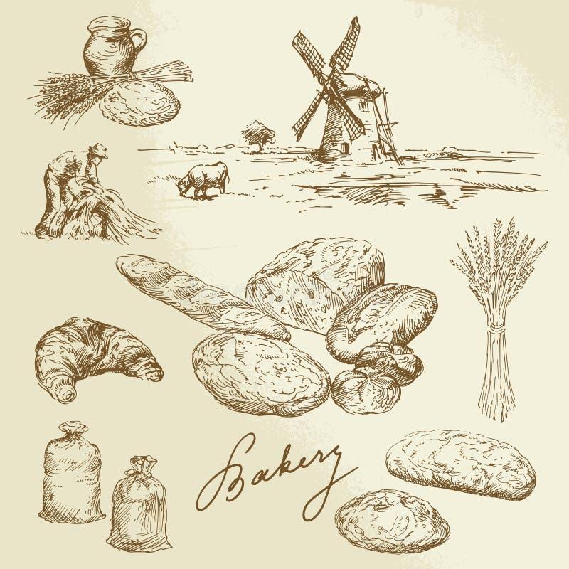 Piekarnia, wiejski krajobraz, chleb ilustracja wektor