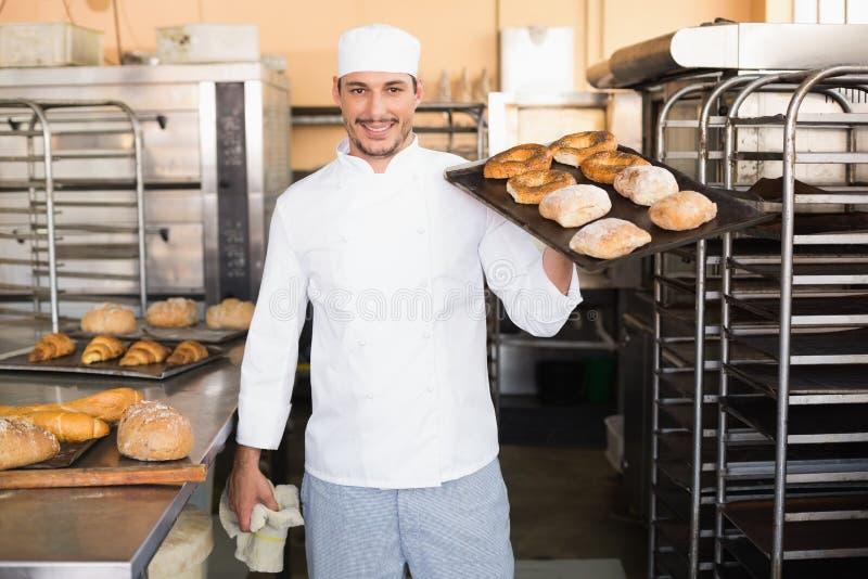 Piekarniana mienie taca chleb zdjęcie stock