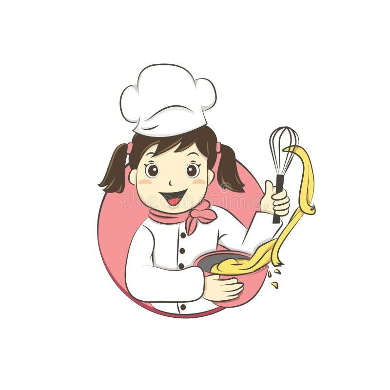 Piekarnianego dziewczyny, dziewczyny szefa kuchni wektoru ilustracja/ royalty ilustracja