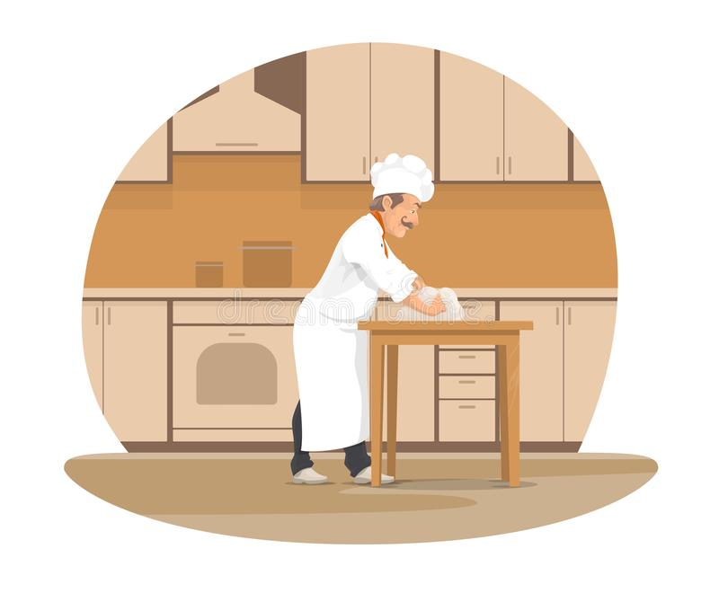 Piekarnianego szefa kuchni wypiekowy chleb przy piekarni kreskówki ikoną ilustracja wektor