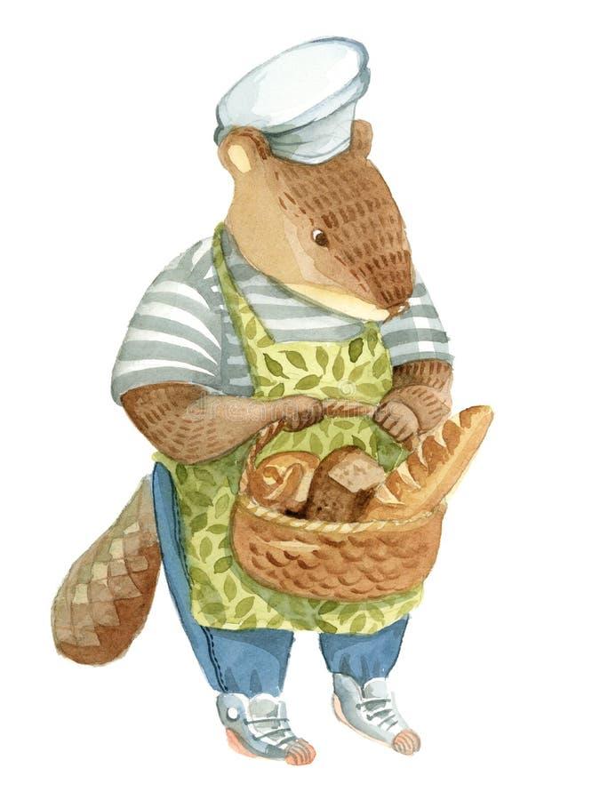 Piekarniany bóbr w fartuchu trzyma kosz z chlebem ilustracji