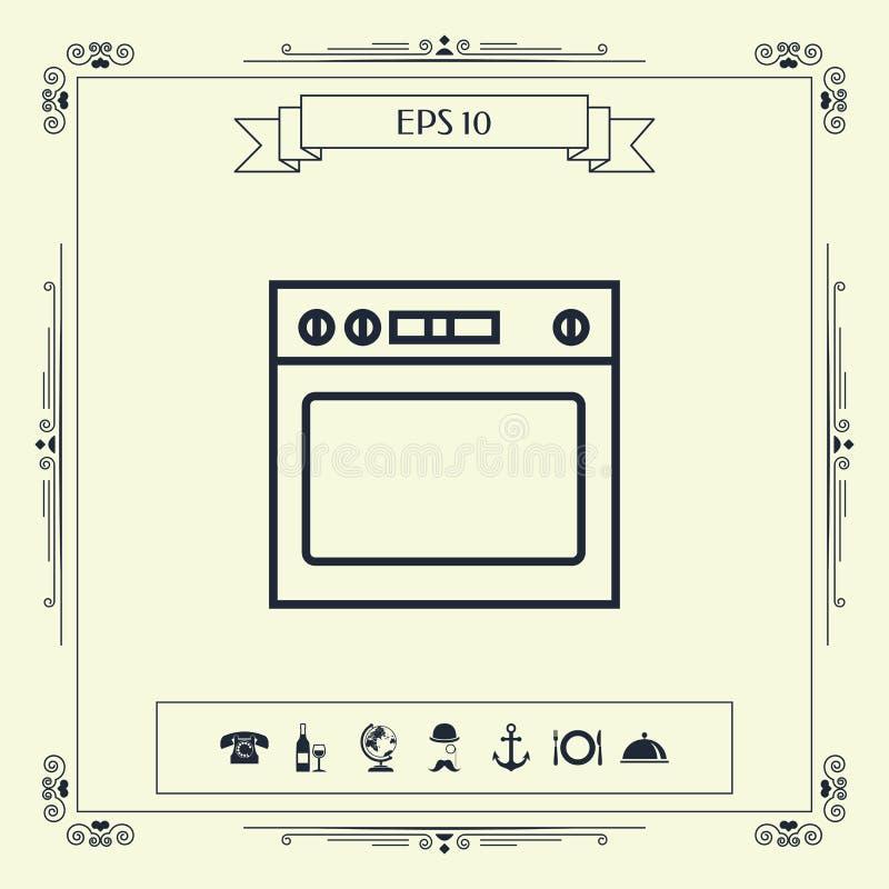 Piekarnik liniowa ikona ilustracji