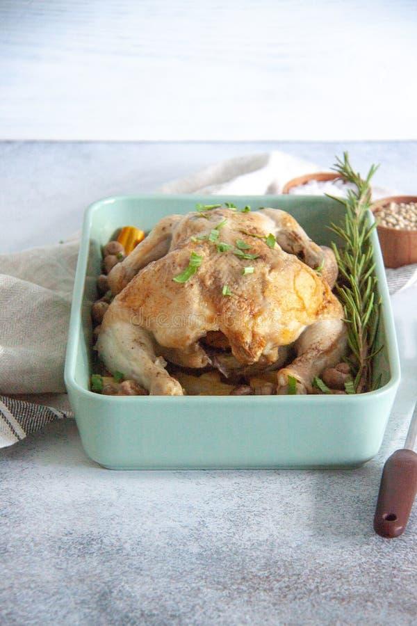 Piekarnik piec kurczaka z veggies i pieczarkami fotografia stock