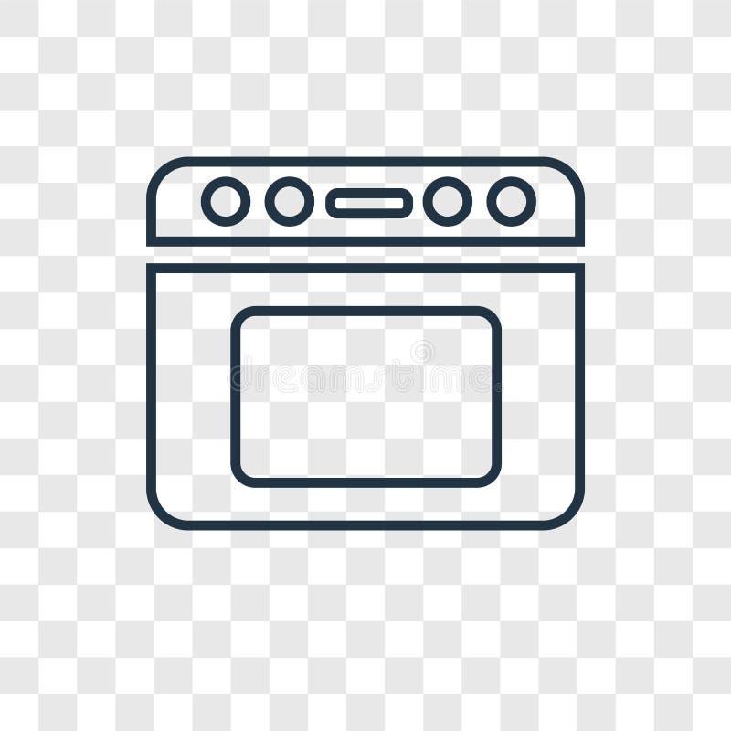 Piekarnika pojęcia wektorowa liniowa ikona odizolowywająca na przejrzystym backgrou ilustracja wektor