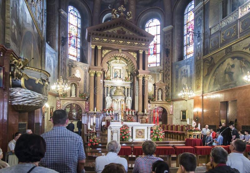 Piekary Slaskie la Polonia 26 maggio 2019 : L'interno della basilica della nostra signora di Piekary fotografia stock libera da diritti