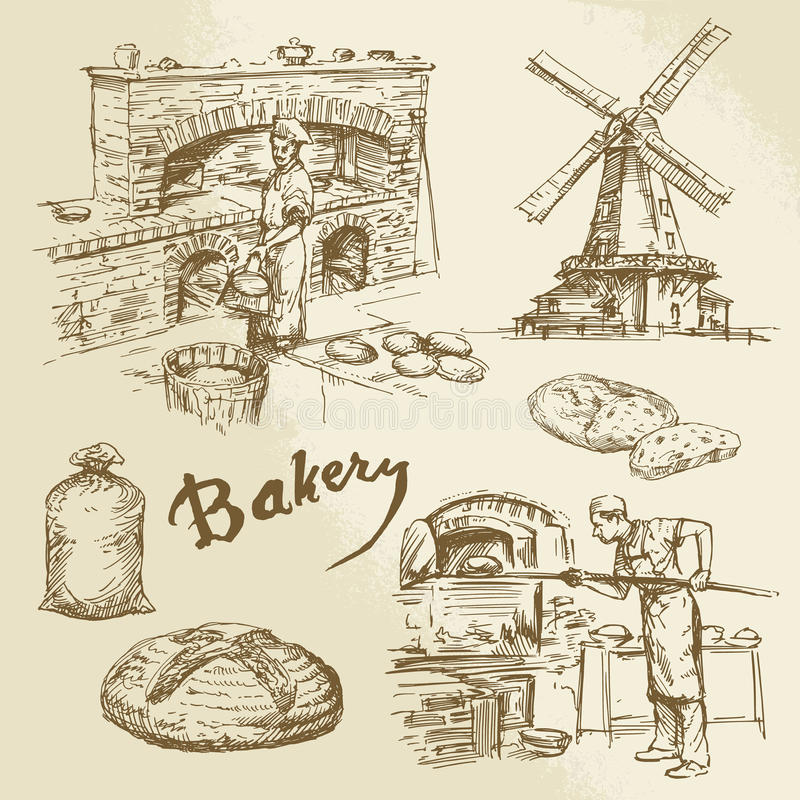 Piekarz, piekarnia, chleb royalty ilustracja