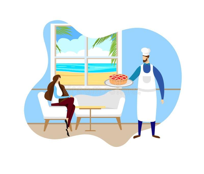 Piekarz w Toque i fartucha dowiezienia torcie dziewczyna royalty ilustracja