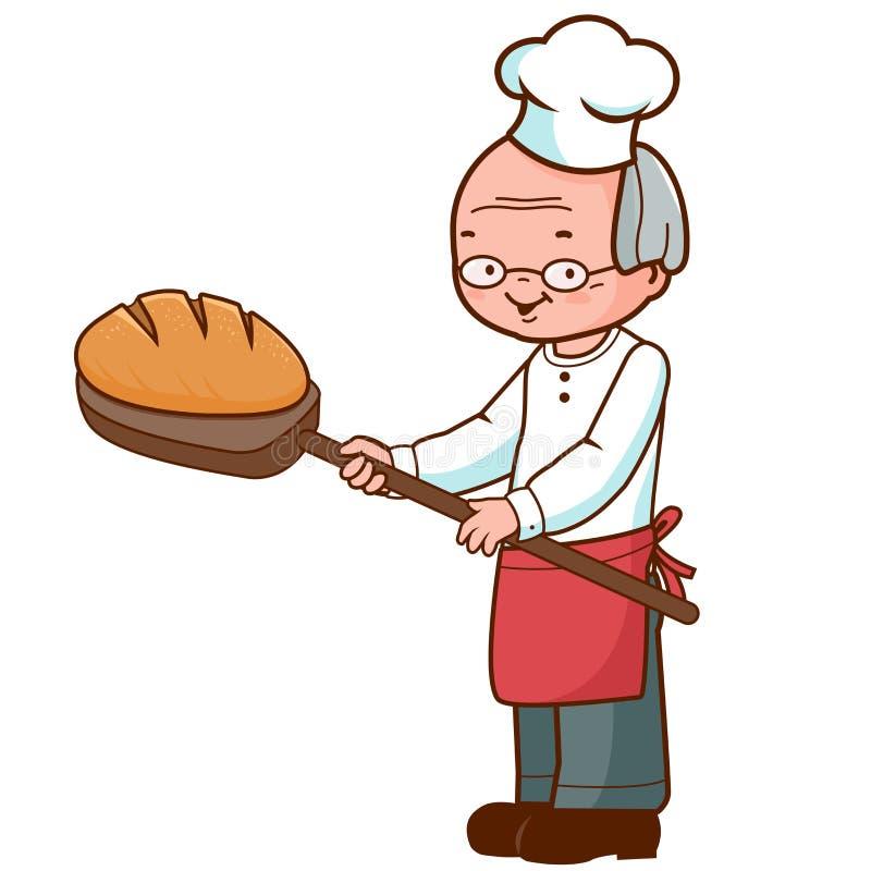 Piekarz z chlebem royalty ilustracja