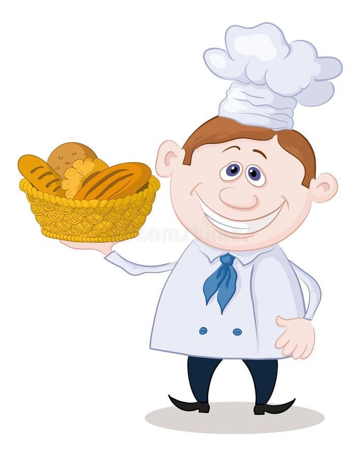 Piekarz z koszem chleb ilustracji