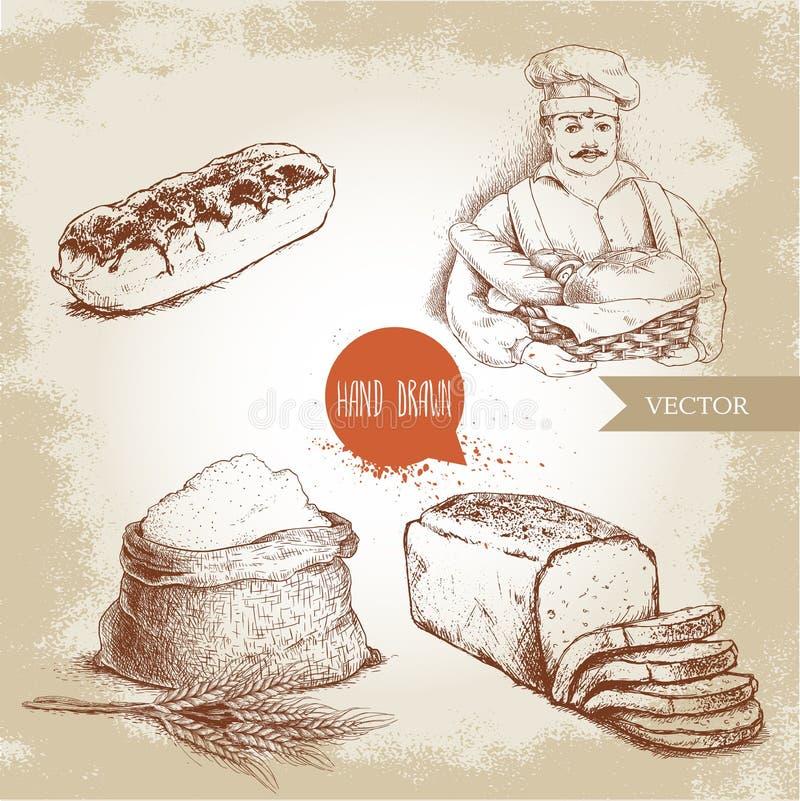 Piekarz z piekarnianym koszem świeży chleb, pokrojony chlebowy bochenek, słodki francuza torta eclair i worek z całą mąką z pszen ilustracji