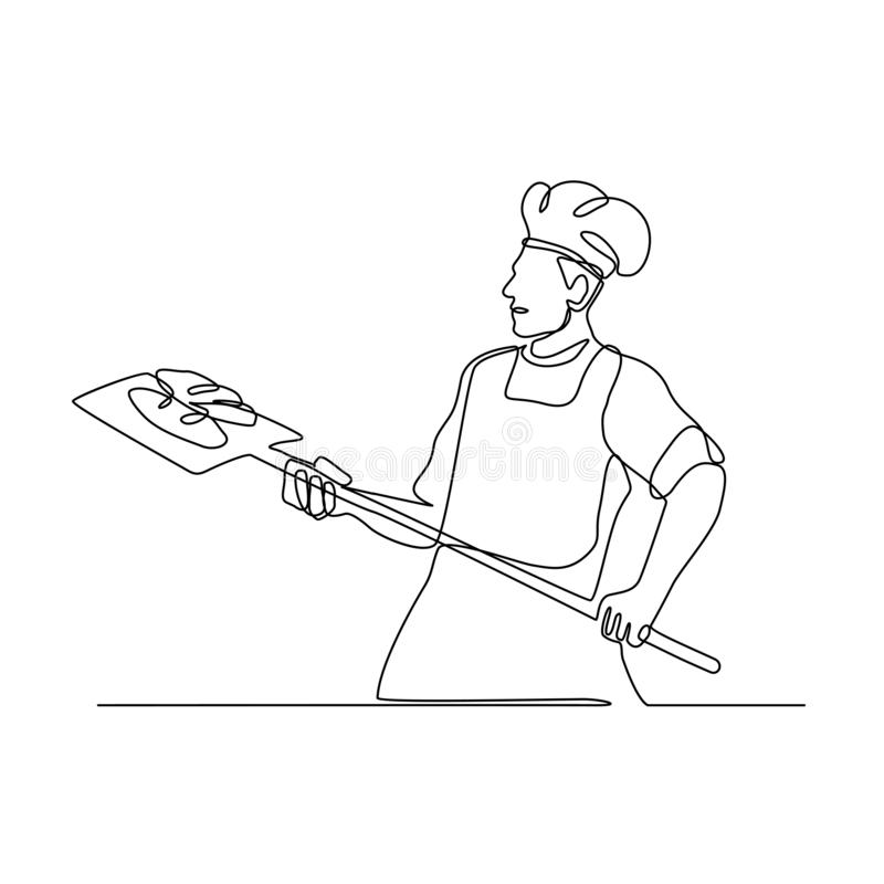 Piekarz Z piekarnik łupy Ciągłą linią royalty ilustracja