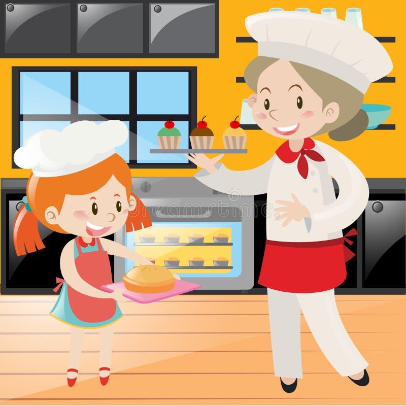 Piekarza i dziewczyny pieczenie w kuchni royalty ilustracja