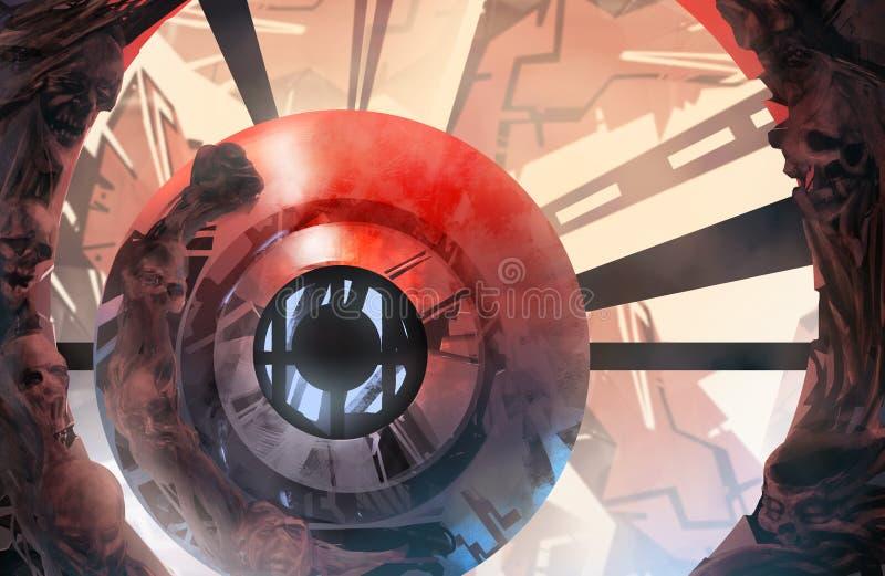 Piekielny futurystyczny tło ilustracja wektor