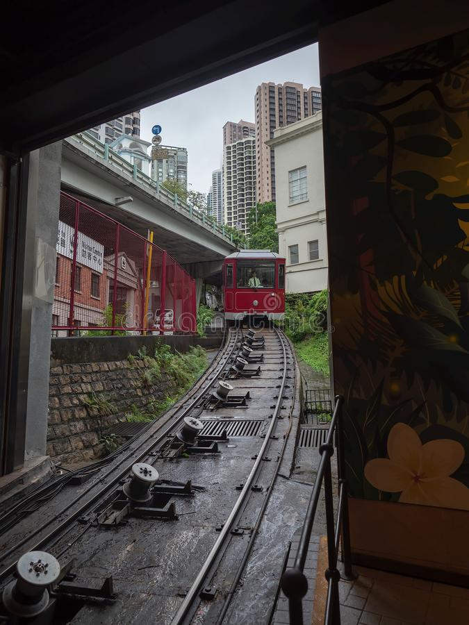 Piektramauto die, Hong Kong aankomen stock foto's