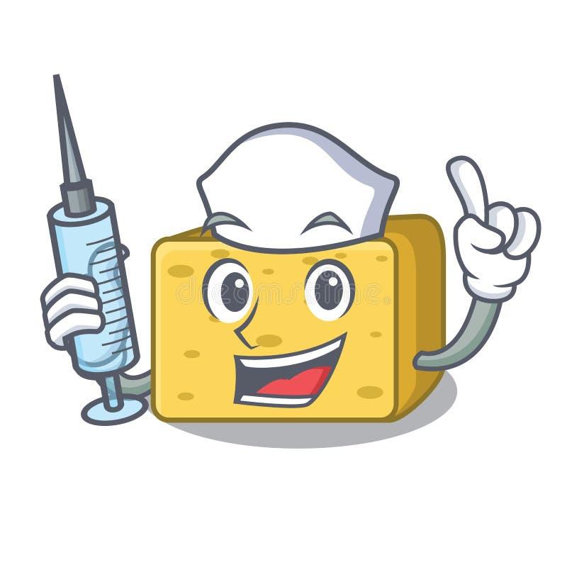 Pielęgniarka charakteru gouda świeży ser ilustracja wektor