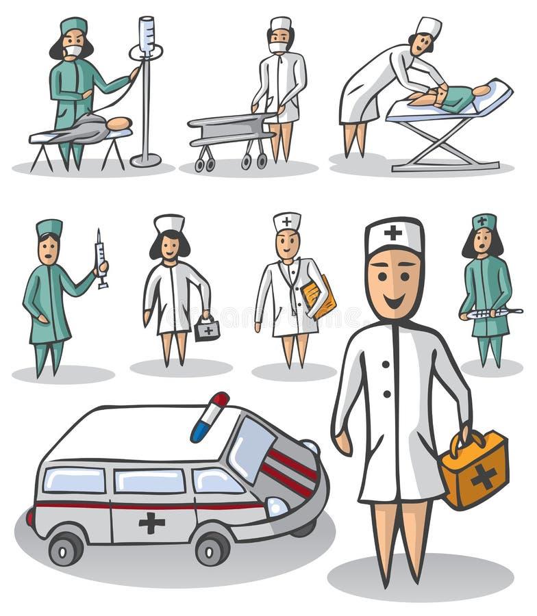 Pielęgniarka i lekarka na białym tle royalty ilustracja