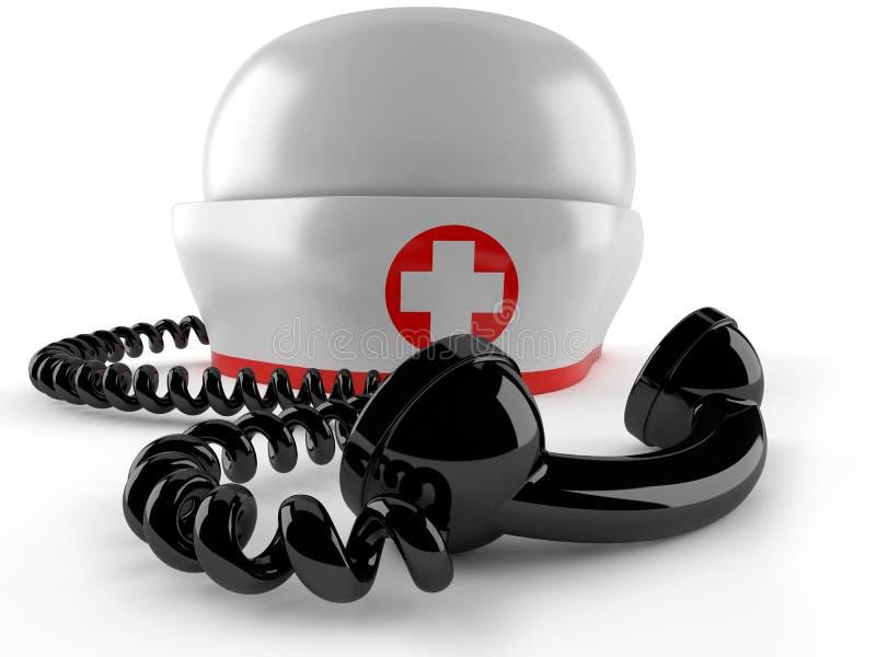 Pielęgniarka kapelusz z handset ilustracja wektor