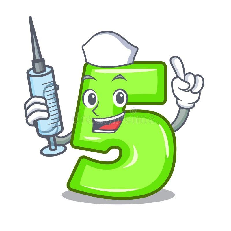 Pielęgniarka kreskówki domowa liczba pięć na ścianie royalty ilustracja