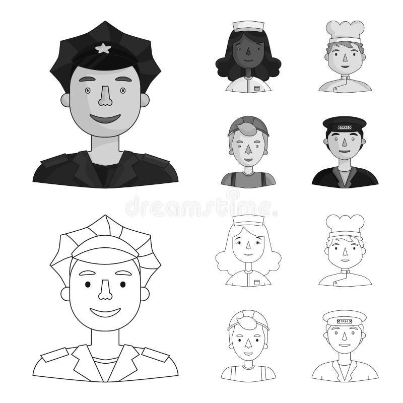 Pielęgniarka, kucharz, budowniczego hełm, taksówkarz Ludzie różni zawody ustawiają inkasowe ikony w konturze, monochrom ilustracja wektor