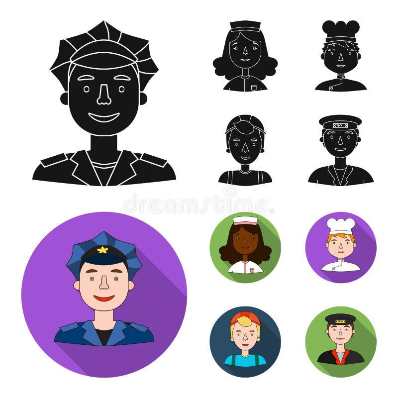 Pielęgniarka, kucharz, budowniczy t, taxi przejażdżka Ludzie różni zawody ustawiać inkasowe ikony w czarnym, mieszkanie styl royalty ilustracja