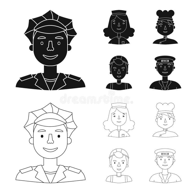 Pielęgniarka, kucharz, budowniczy, taksówkarz Ludzie różni zawody ustawiać inkasowe ikony w czerni, kontur ilustracji