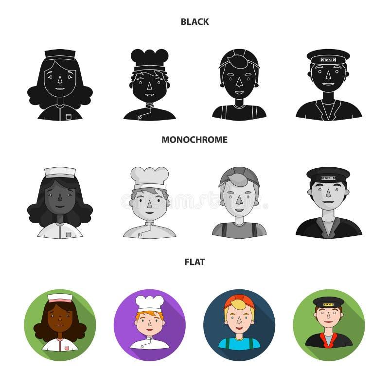 Pielęgniarka, kucharz, budowniczy, taksówkarz Ludzie różni zawody ustawiają inkasowe ikony w czarnym, mieszkanie royalty ilustracja