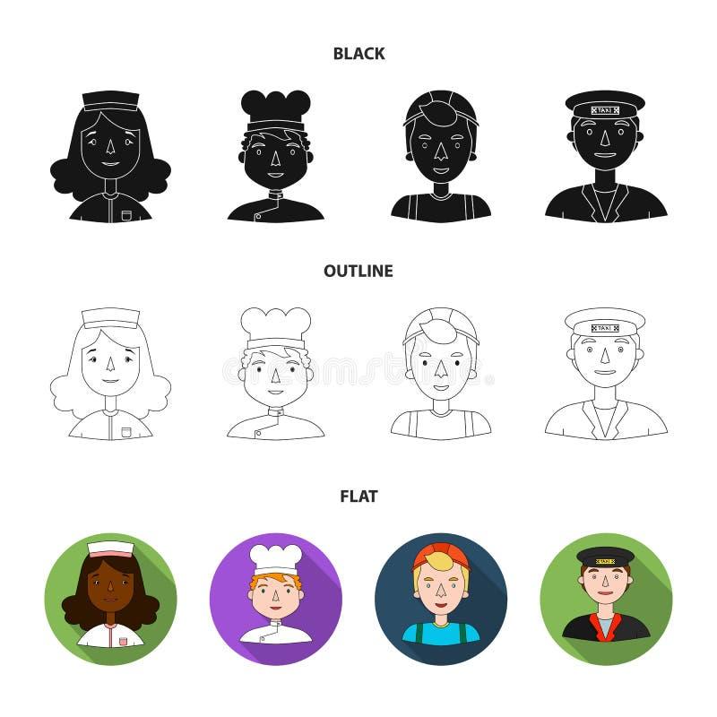 Pielęgniarka, kucharz, budowniczy, taksówkarz Ludzie różni zawody ustawiają inkasowe ikony w czarnym, mieszkanie ilustracji