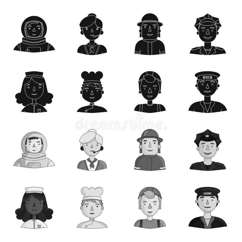 Pielęgniarka, kucharz, budowniczy, taksówkarz Ludzie różni zawody ustawiają inkasowe ikony w czarnym, monochrom ilustracja wektor