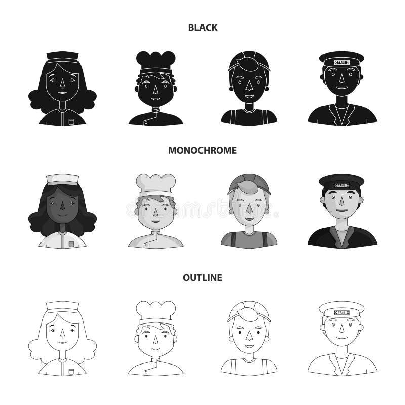Pielęgniarka, kucharz, budowniczy, taksówkarz Ludzie różni zawody ustawiają inkasowe ikony w czarnym, monochrom ilustracji