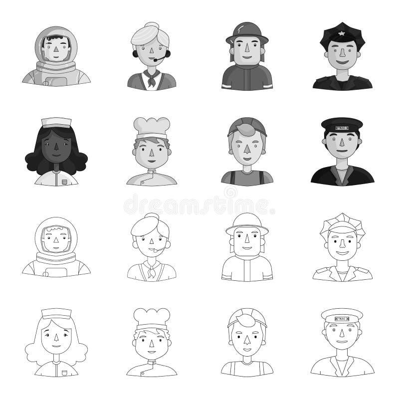 Pielęgniarka, kucharz, budowniczy, taksówkarz Ludzie różni zawody ustawiają inkasowe ikony w konturze ilustracji