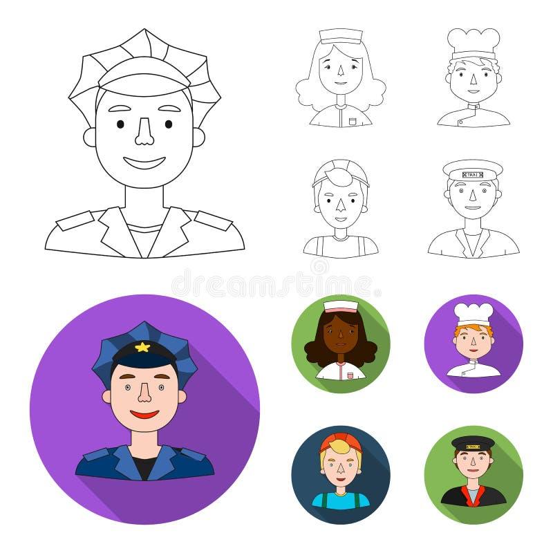 Pielęgniarka, kucharz, budowniczy, taksówkarz Ludzie różni zawody ustawiają inkasowe ikony w konturze, mieszkanie royalty ilustracja