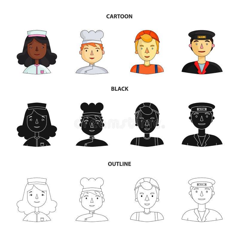 Pielęgniarka, kucharz, budowniczy, taksówkarz Ludzie różni zawody ustawiają inkasowe ikony w kreskówce, czerń ilustracji