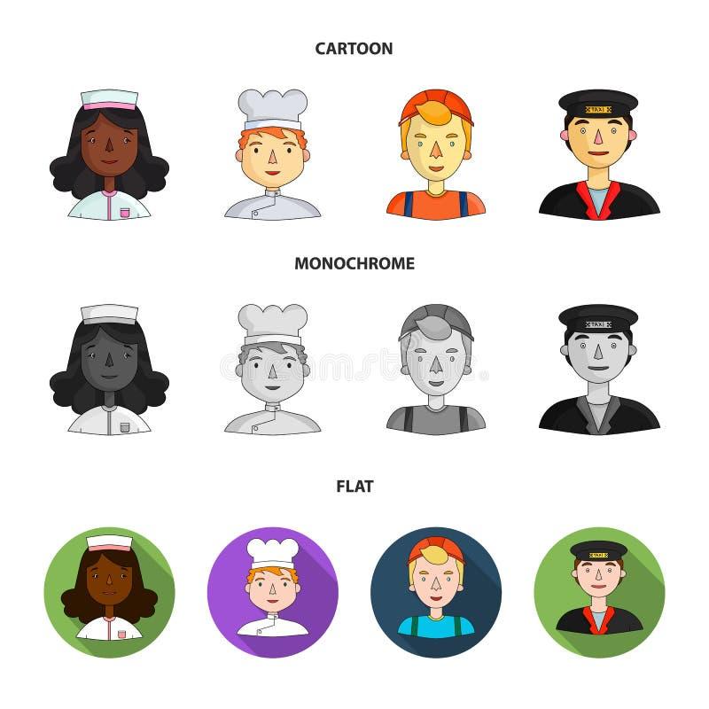 Pielęgniarka, kucharz, budowniczy, taksówkarz Ludzie różni zawody ustawiają inkasowe ikony w kreskówce, mieszkanie ilustracji