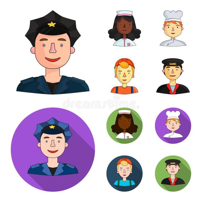 Pielęgniarka, kucharz, budowniczy, taksówkarz Ludzie różni zawody ustawiają inkasowe ikony w kreskówce, mieszkanie ilustracja wektor