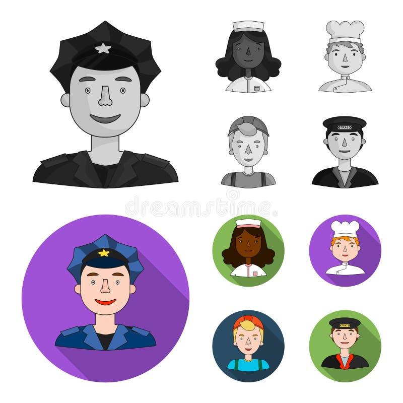 Pielęgniarka, kucharz, budowniczy, taksówkarz Ludzie różni zawody ustawiają inkasowe ikony w monochromu, mieszkanie ilustracji