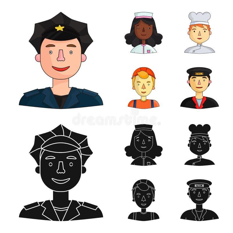 Pielęgniarka, kucharz, budowniczy, taxi Ludzie różni zawody ustawiają inkasowe ikony w kreskówce, czerń styl ilustracji