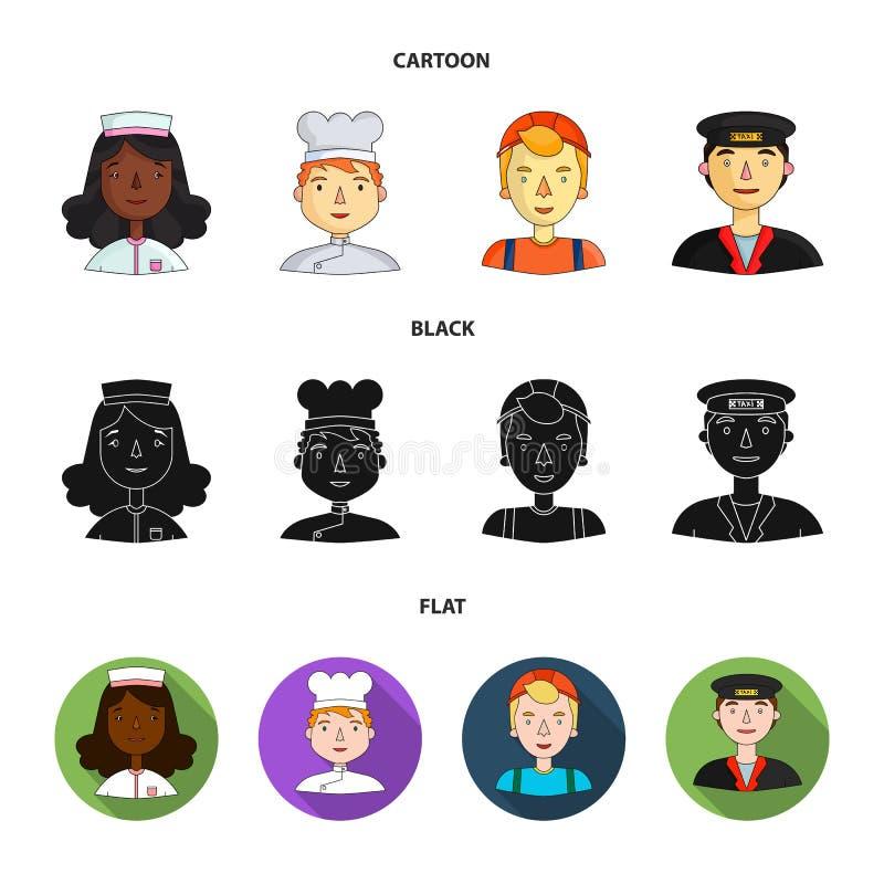 Pielęgniarka, kucharz, budowniczy w hełmie, taksówkarz Ludzie różni zawody ustawiają inkasowe ikony w kreskówce royalty ilustracja