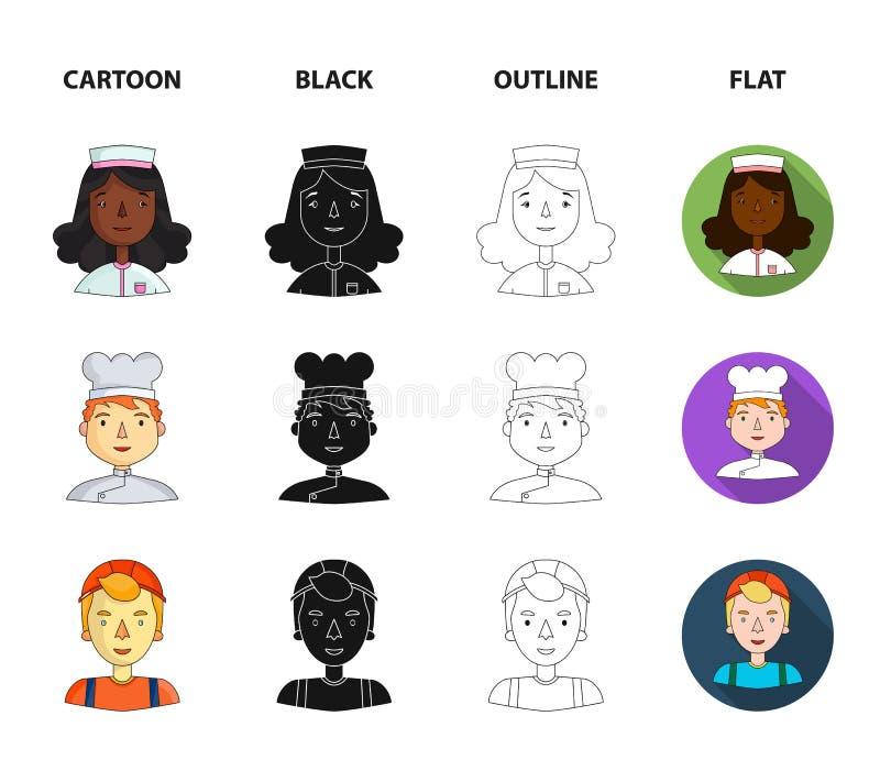Pielęgniarka, kucharz budowniczy w hełmie, taksówkarz Ludzie różni zawody ustawiają inkasowe ikony w kreskówce ilustracja wektor