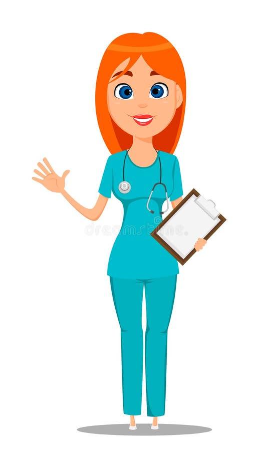 Pielęgniarka, medyczny pracownik w błękita munduru tunice i spodnia z stetoskopem, trzyma schowek i macha rękę, royalty ilustracja