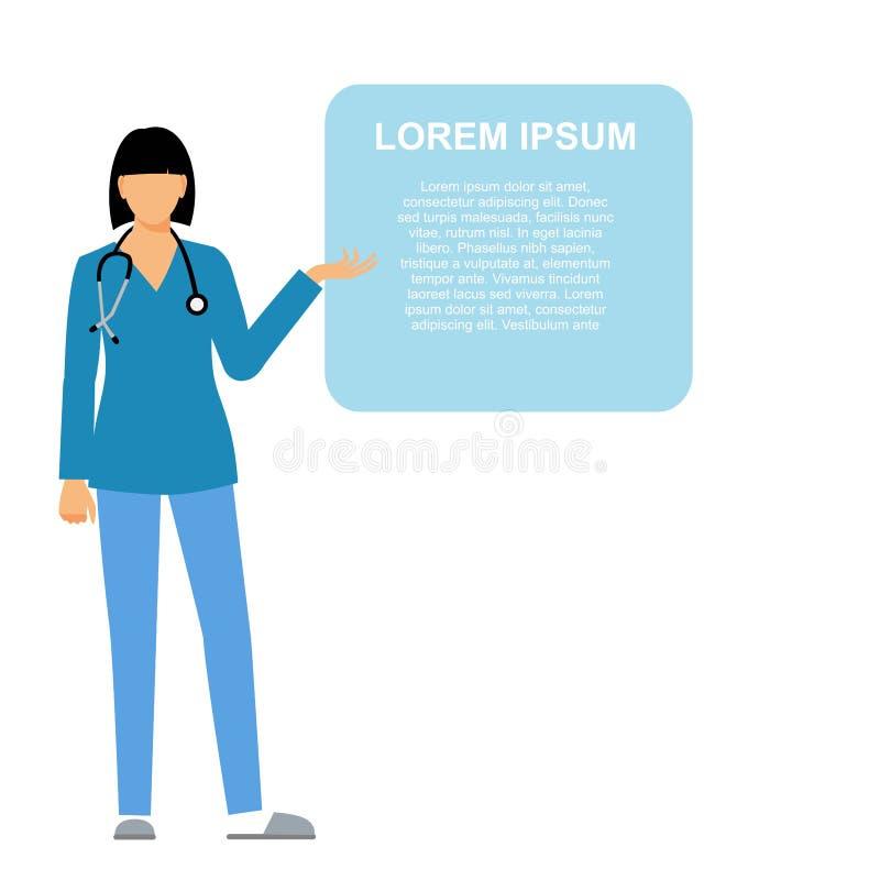 Pielęgniarka, prezentacja, punkt miejsce tekst ilustracja wektor