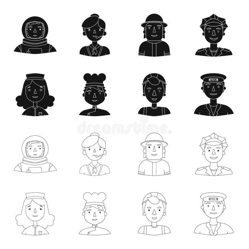 Pielęgniarka w opatrunkowej todze, kucharz, budowniczy, taksówkarz Ludzie różni zawody ustawiają inkasowe ikony wewnątrz ilustracja wektor