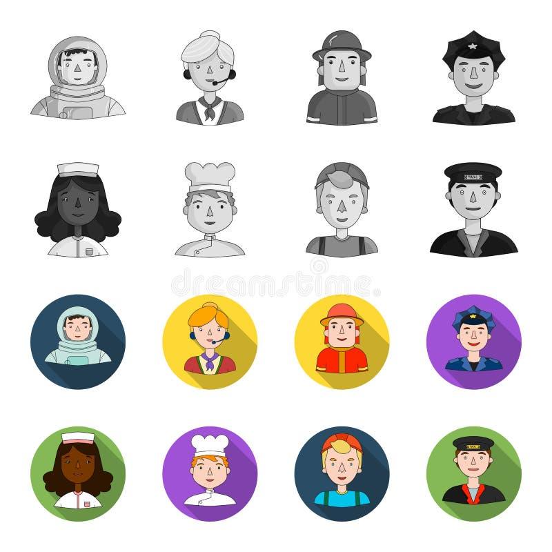 Pielęgniarka w opatrunkowej todze, kucharz w kapiszonie, budowniczy w hełmie, taksówkarz w nakrętce Ludzie różny ilustracji