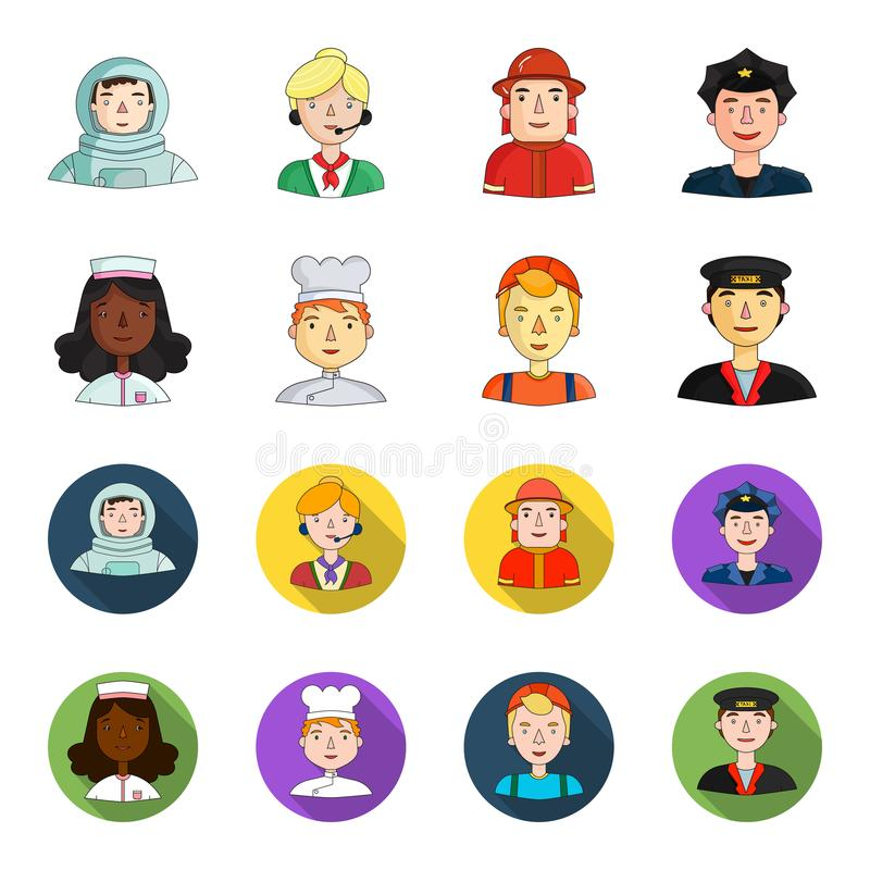 Pielęgniarka w opatrunkowej todze, kucharz w kapiszonie, budowniczy w hełmie, taksówkarz w nakrętce Ludzie różny royalty ilustracja