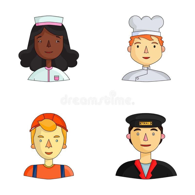 Pielęgniarka w opatrunkowej todze, kucharz w kapiszonie, budowniczy w hełmie, taksówkarz w nakrętce Ludzie różny ilustracja wektor