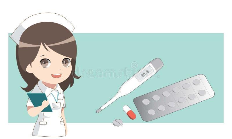 Pielęgniarka z medycynami Termometr i pigułki, kapsuła royalty ilustracja