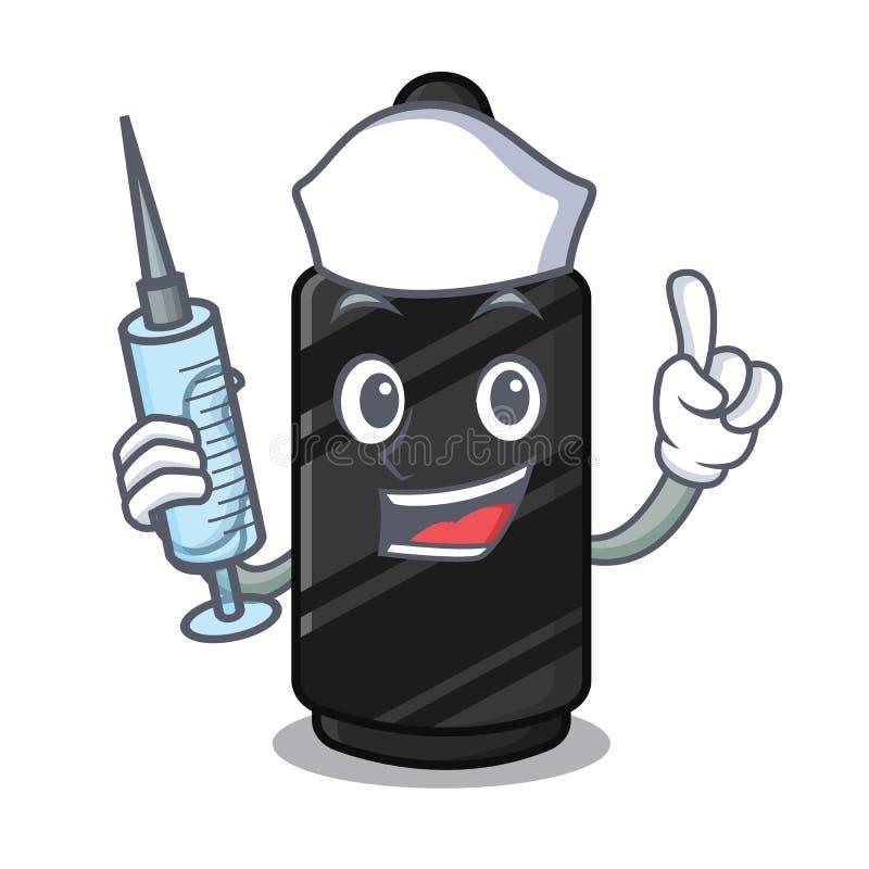 Pielęgniarki czarna kredka w charakteru kształcie ilustracja wektor