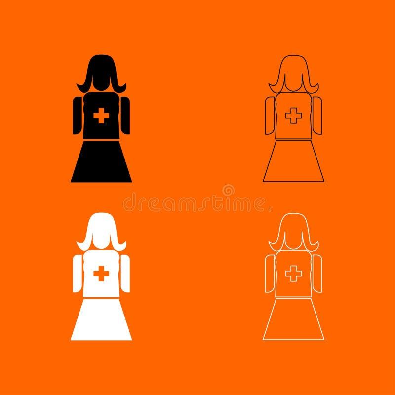 Pielęgniarki czarny i biały ustalona ikona ilustracji