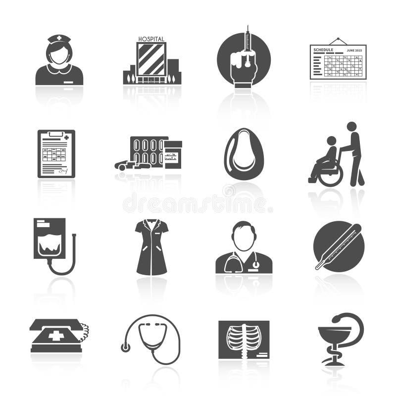 Pielęgniarki ikony set ilustracji