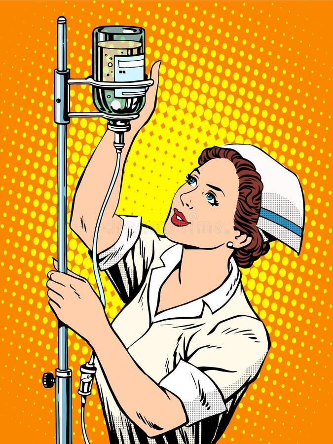 Pielęgniarki medycyny wkraplacz royalty ilustracja